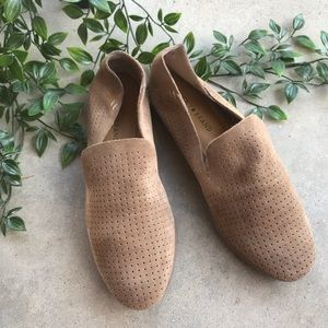 Lucky Brand Tan Suede Perforated Loafers